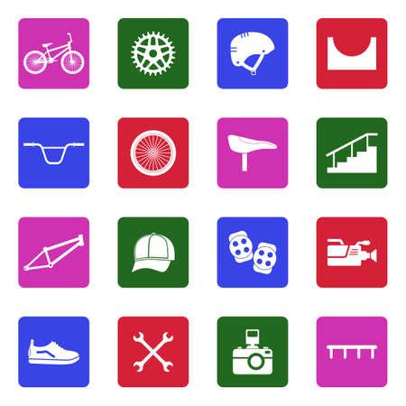 BMX Icons. White Flat Design In Square. Vector Illustration. Illustration
