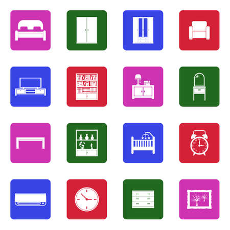 Bedroom Icons. White Flat Design In Square. Vector Illustration. Vectores