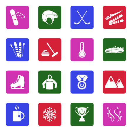 Winter sports icons white flat design in square vector illustration.
