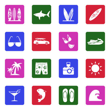 Surfing Icons. White Flat Design In Square. Vector Illustration.