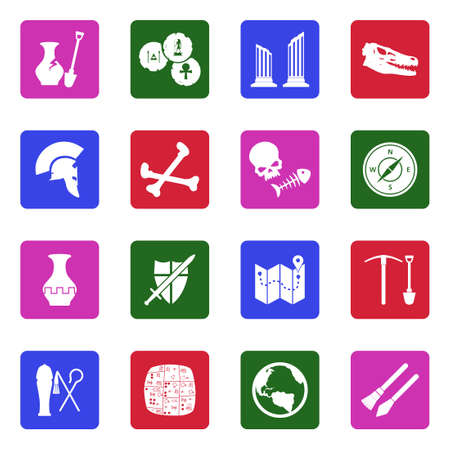 280 world cultures museums stock vector illustration and royalty archeology icons white flat design in square vector illustration publicscrutiny Choice Image