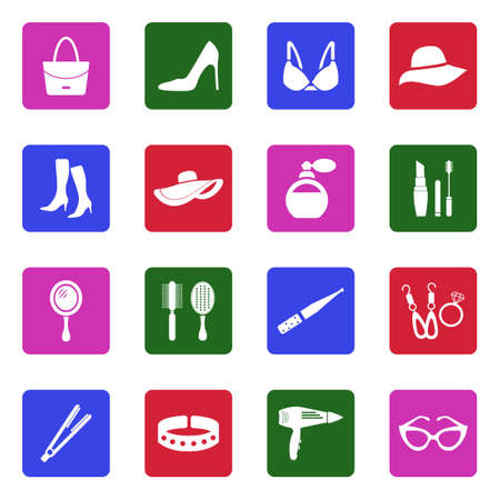 Woman's Accessories Icons. White Flat Design In Square. Vector Illustration.