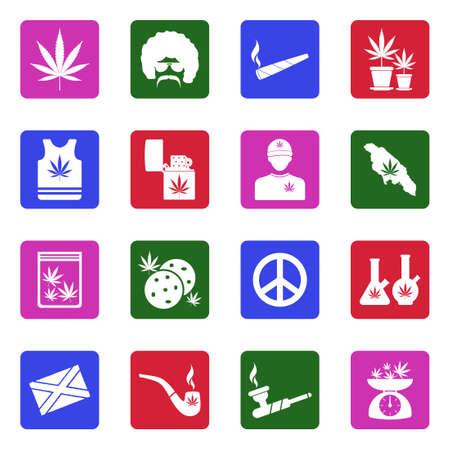 Marijuana Icons. White Flat Design In Square. Vector Illustration.