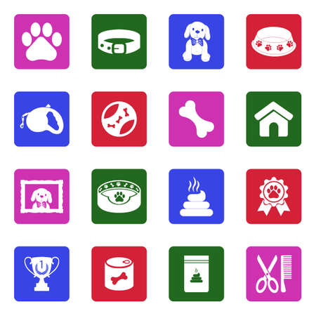 Dog Icons. White Flat Design In Square. Vector Illustration.