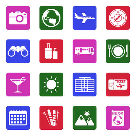 Travel Icons. White Flat Design In Square. Vector Illustration. 向量圖像