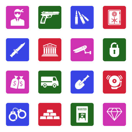Robbery And Crime Icons. White Flat Design In Square. Vector Illustration.