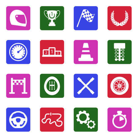 Racing Icons. White Flat Design In Square. Vector Illustration.