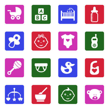 Baby Icons. White Flat Design In Square. Vector Illustration. Vettoriali