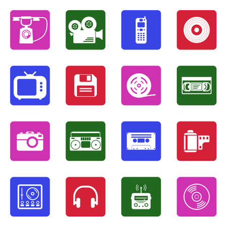 Vintage Technology Icons. White Flat Design In Square. Vector Illustration.