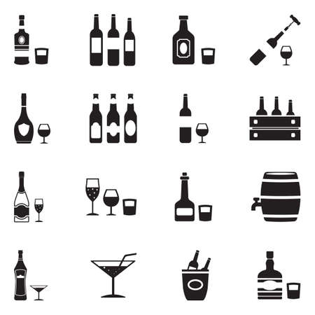 Alcoholic Drinks Icons. Black Flat Design. Vector Illustration.  イラスト・ベクター素材