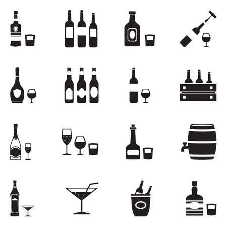 Alcoholic Drinks Icons. Black Flat Design. Vector Illustration. Illustration