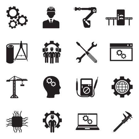 Iconos de ingeniería y fabricación. Diseño plano negro. Ilustración vectorial Ilustración de vector