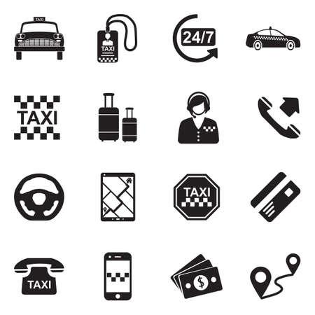Taxi Icons. Black Flat Design. Vector Illustration. Illustration