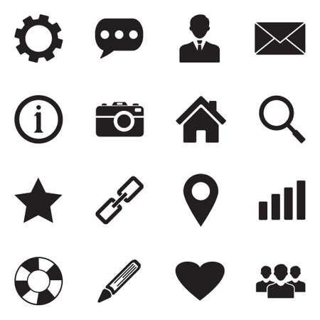 Website Menu Navigation Icons. Black Flat Design. Vector Illustration.