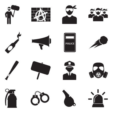 Protest And Demonstration Icons. Black Flat Design. Vector Illustration.