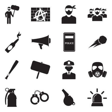 Protest And Demonstration Icons. Black Flat Design. Vector Illustration.
