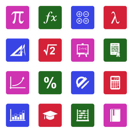 Mathematics Icons. White Flat Design In Square. Vector Illustration.