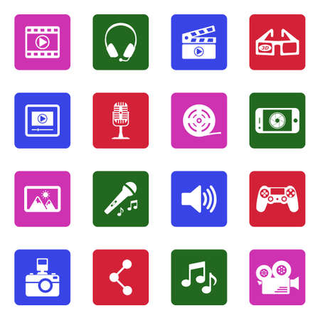 Multimedia icons in colored squares.