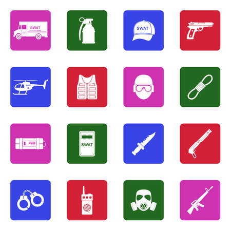 SWAT Icons. White Flat Design In Square. Vector Illustration.
