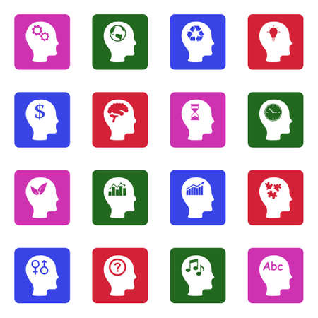 Thinking Heads Icons. White Flat Design In Square. Vector Illustration. Illustration