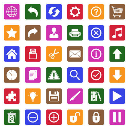 Toolbar Icons. White Flat Design In Square. Vector Illustration.