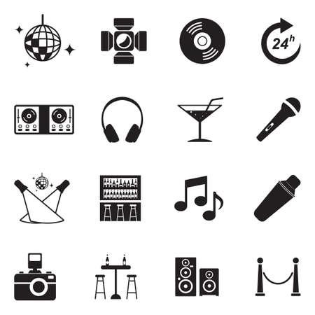 Night Club Icons. Black Flat Design. Vector Illustration.