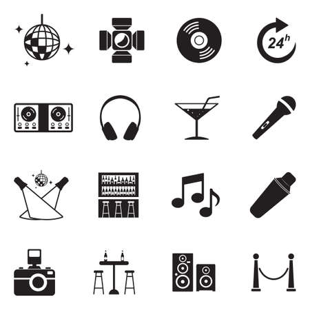 Night Club Icons. Black Flat Design. Vector Illustration.