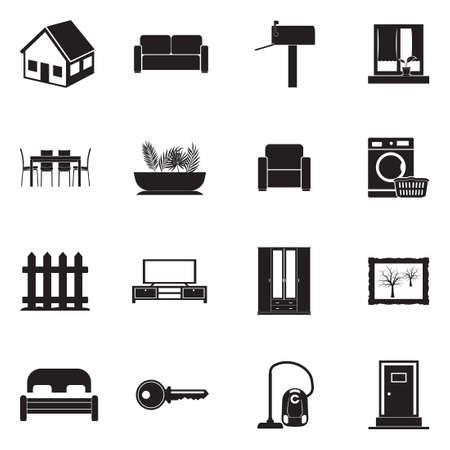 Home Icons. Black Flat Design. Vector Illustration.