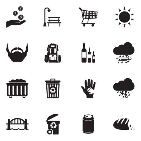 Homeless Icons. Black Flat Design. Vector Illustration.