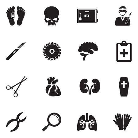 Morgue icons set. Black flat design vector illustration.