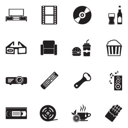 Movie night icon set. Black flat design vector illustration.  イラスト・ベクター素材