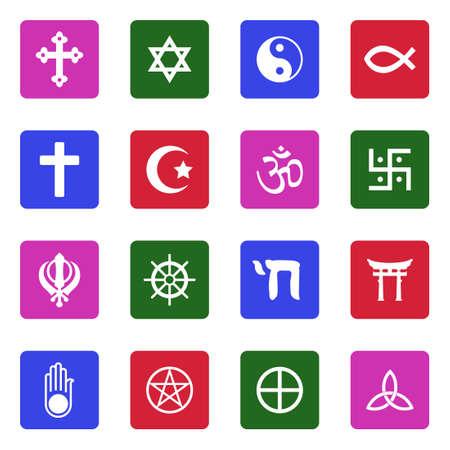 Religion Symbols Icons. White Flat Design In Square. Vector Illustration.