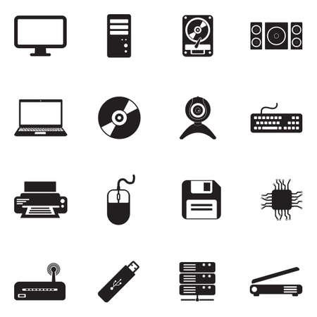 Computer Hardware Icons vector illustration set