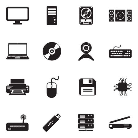 Computer Hardware Icons vector illustration set