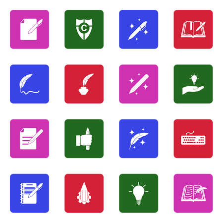 Copywriting Icons. White Flat Design In Square. Vector Illustration.