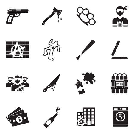 Crime Icons. Black Flat Design. Vector Illustration.