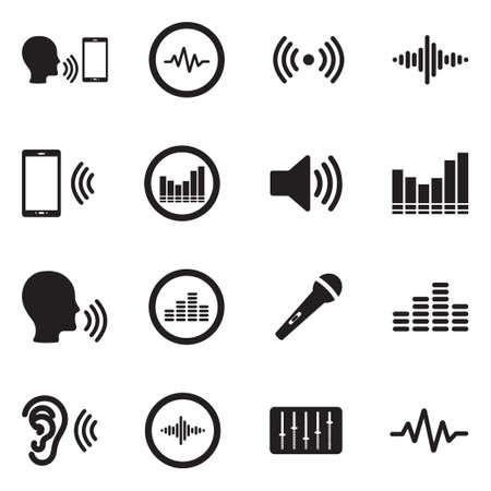 Iconos de voz en off. Diseño plano negro. Ilustración de vector.