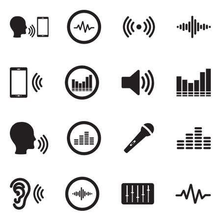 Voiceover Icons. Black Flat Design. Vector Illustration. Çizim