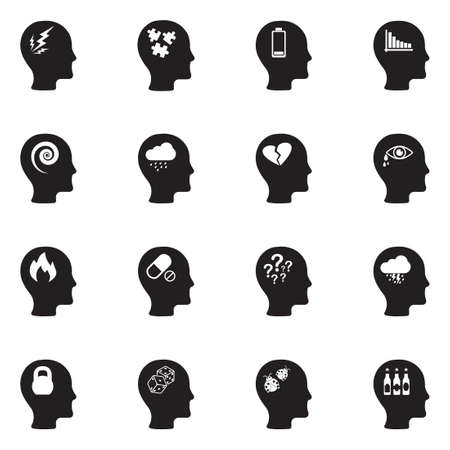 Stress And Depression Icons. Black Flat Design. Vector Illustration.