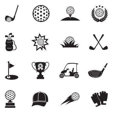 Golf Icons. Black Flat Design. Vector Illustration.