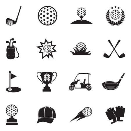 Golf Icons. Black Flat Design. Vector Illustration.