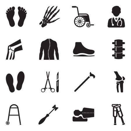 Orthopedic Icons. Black Flat Design. Vector Illustration.