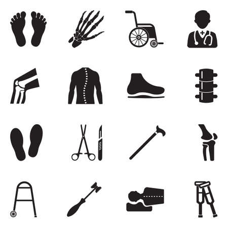Orthopedic Icons. Black Flat Design. Vector Illustration.