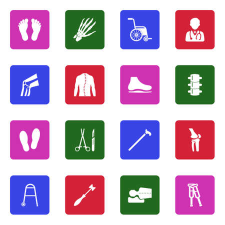 Orthopedic Icons. White Flat Design In Square. Vector Illustration.