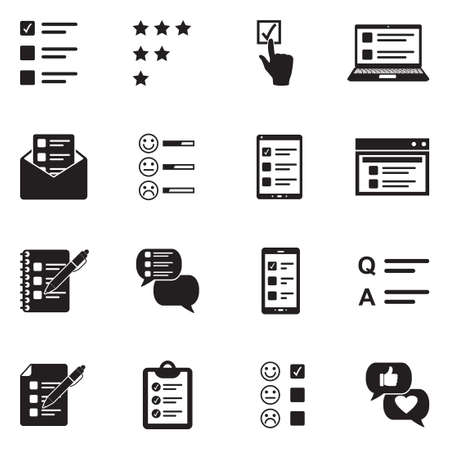 Survey Icons. Black Flat Design. Vector Illustration.