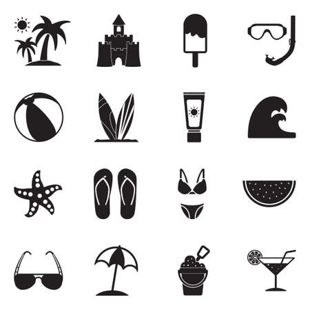 Beach Icons. Black Flat Design. Vector Illustration.