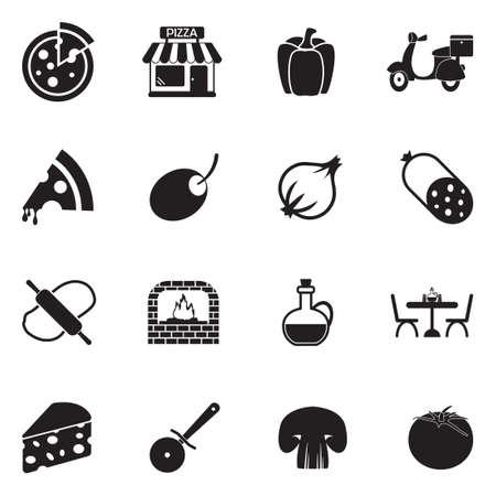 Pizza Icons. Black Flat Design. Vector Illustration.  イラスト・ベクター素材