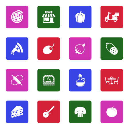 Pizza Icons. White Flat Design In Square. Vector Illustration. 写真素材 - 99925645
