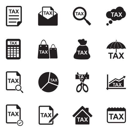 Tax Icons. Black Flat Design. Vector Illustration.