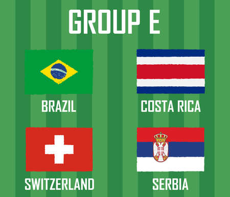 Soccer cup team group E. International Country Flags Grunge Style. Vettoriali